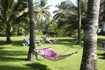 Relaxing in a hammock in The Kairaba gardens
