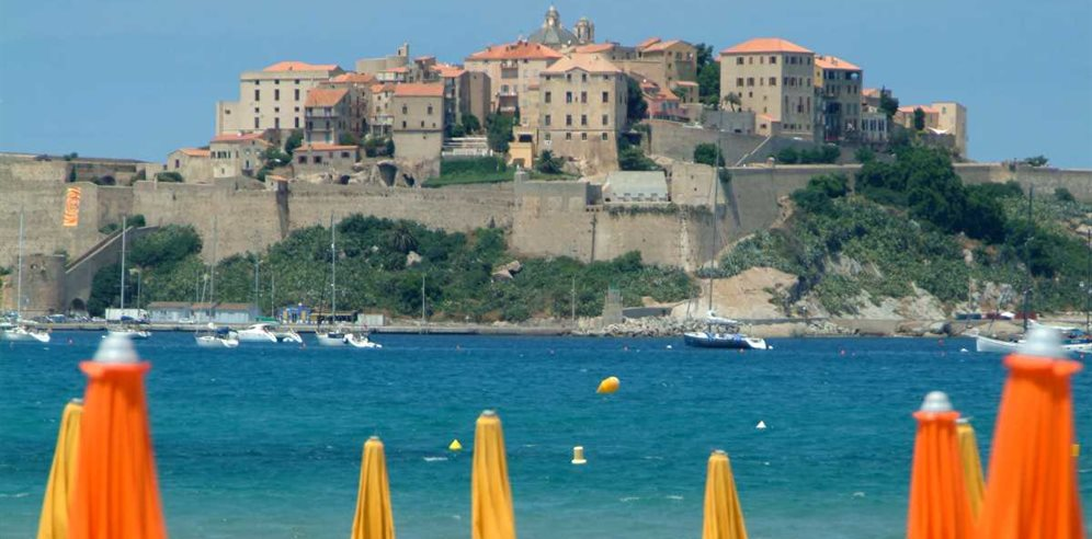 Calvi beach & view of the citadel
