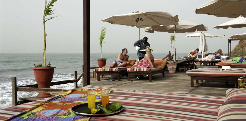 Decking on beach at Ngala Lodge
