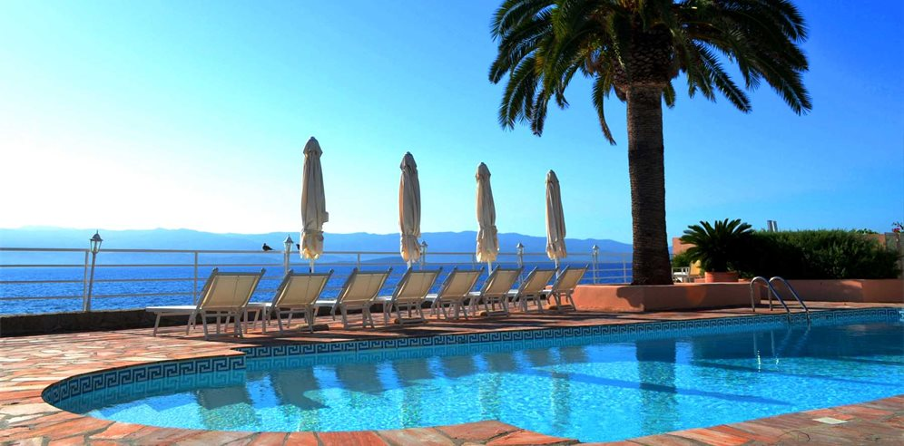 Pool area with views across the Gulf of Ajaccio