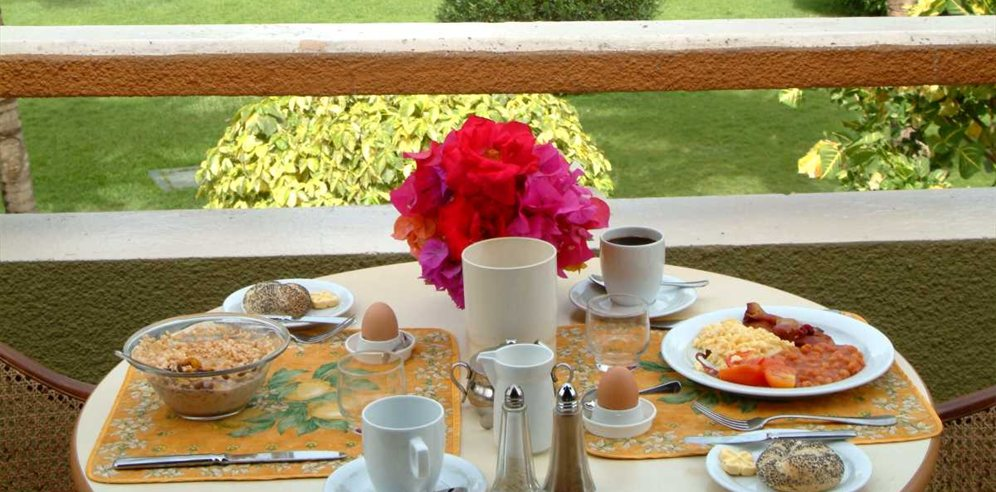 Breakfast overlooking the gardens