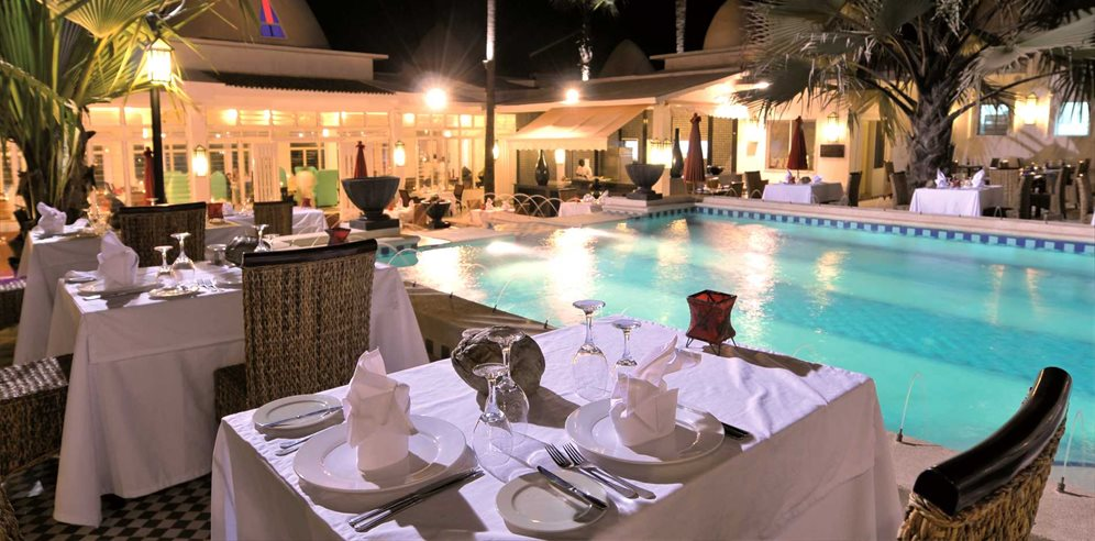 Evening at the Courtyard Restaurant, Coco Ocean Resort & Spa, Bijilo, The Gambia