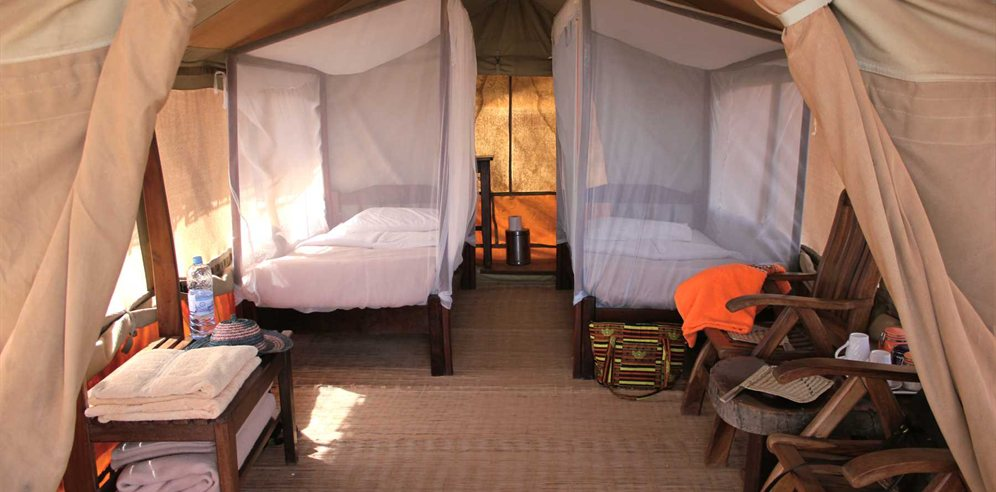 Tented accommodation at Chimp Rehabilitation Project Camp