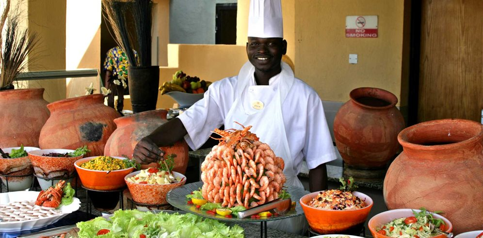 All-inclusive buffet at Gambia Coral Beach Hotel & Spa, Brufut, The Gambia
