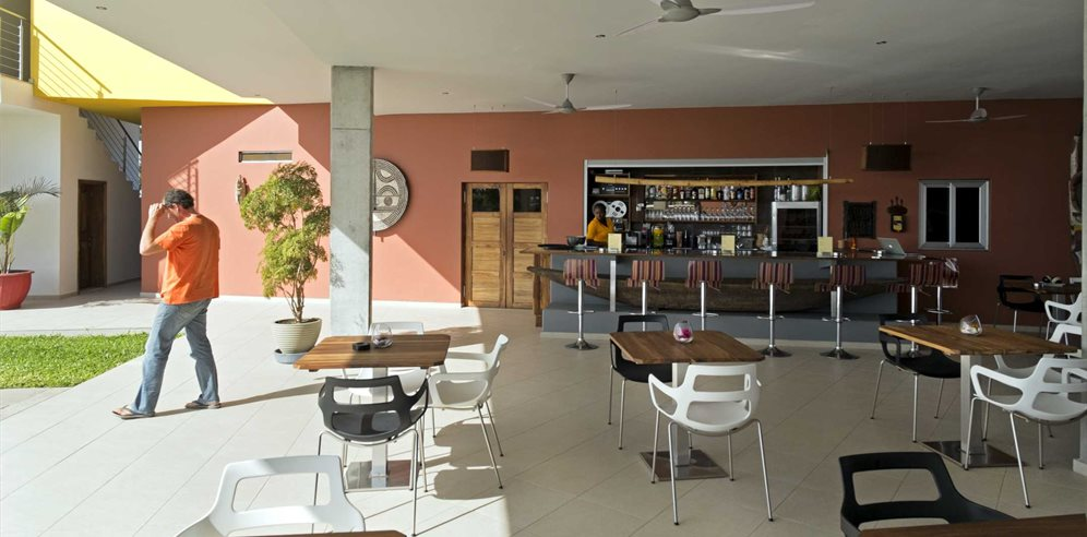 Bar and restaurant area at Leo's Beach Hotel, Brufut, The Gambia