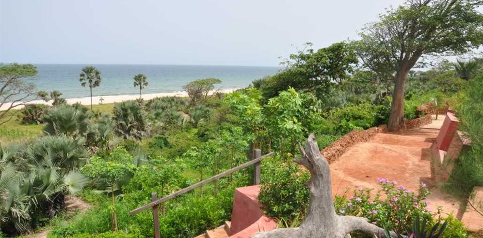 Steps leading to beach from Leo's Beach Hotel, Brufut, The Gambia