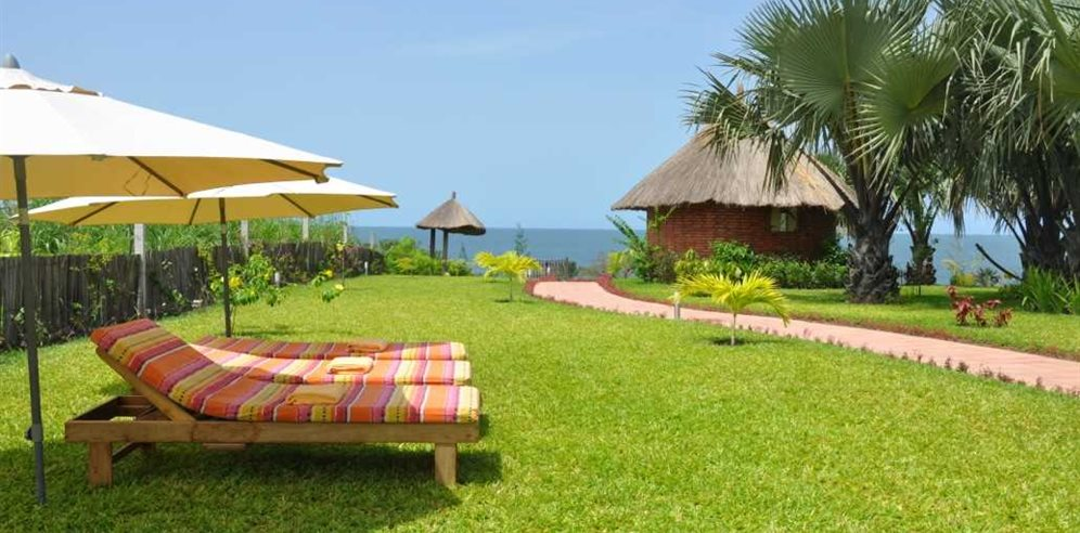 Tranquil gardens at Leo's Beach Hotel, Brufut, The Gambia