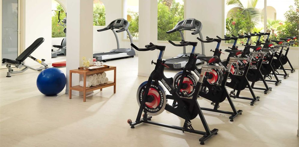 Gym with spinning bikes
