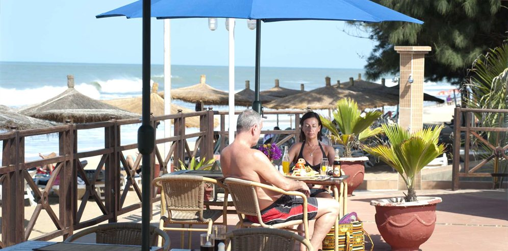 Lunch by the beach at Senegambia Hotel