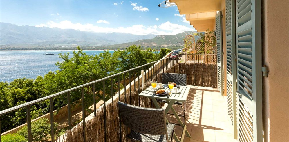 Breakfast with views over Calvi bay