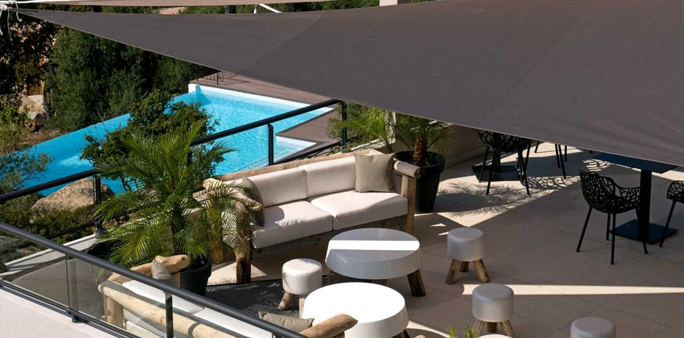 Terrace overlooking the pool