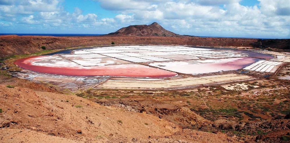 View from the top of the crater of the Salt Mines, Sal, Cape Verde