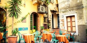street cafe in the beautiful town Taormina, Sicily, Italy  - Anna Lurye   |  Shutterstock