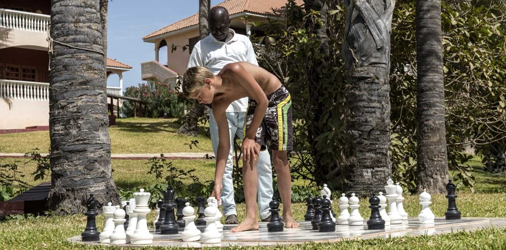 Giant chess at Lemon Creek Hotel, Bijilo, The Gambia
