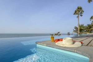 Infinity pool at Ngala Lodge, Fajara, The Gambia