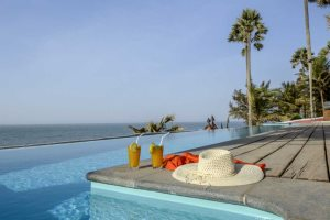 Clifftop infinity pool at Ngala Lodge, Fajara, The Gambia