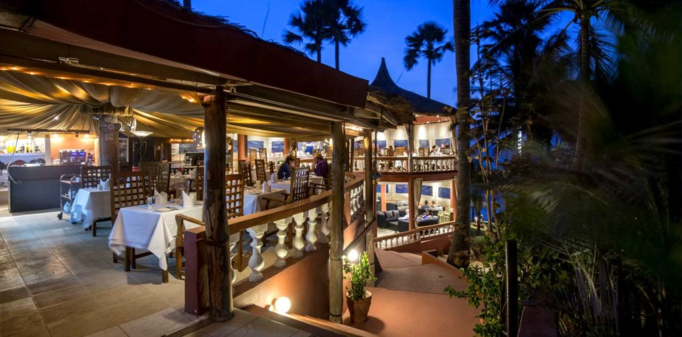 Ngala Lodge Restaurant at night, Fajara, The Gambia