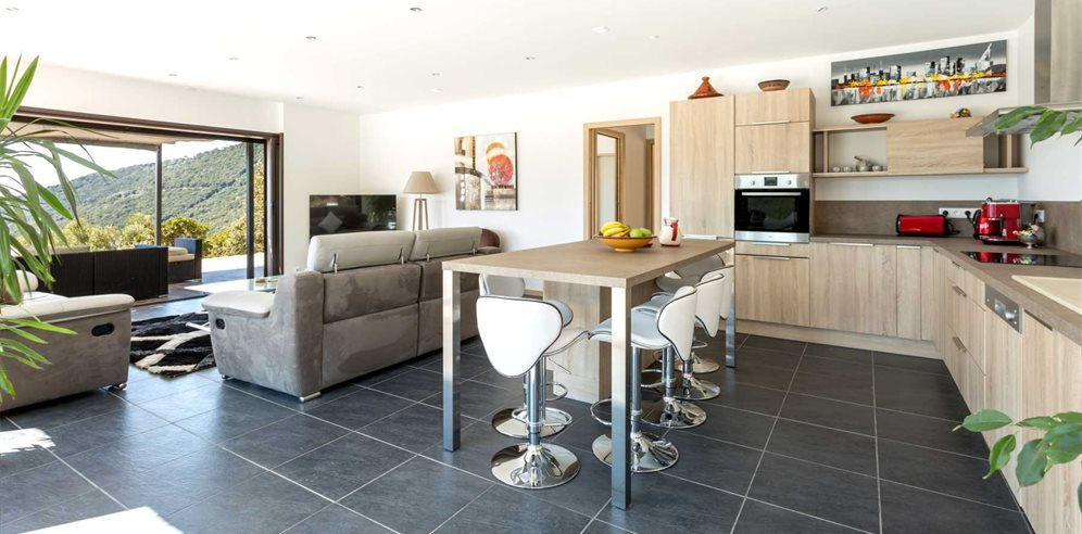 Open plan living area with kitchen