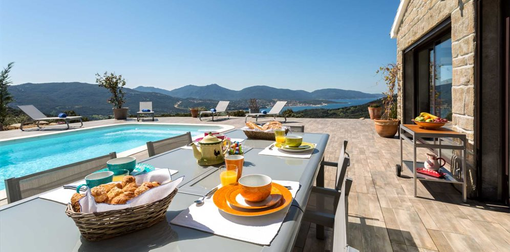 Breakfast on Terrace by the Pool - Villa Kallisté - Valinco & the West Coast