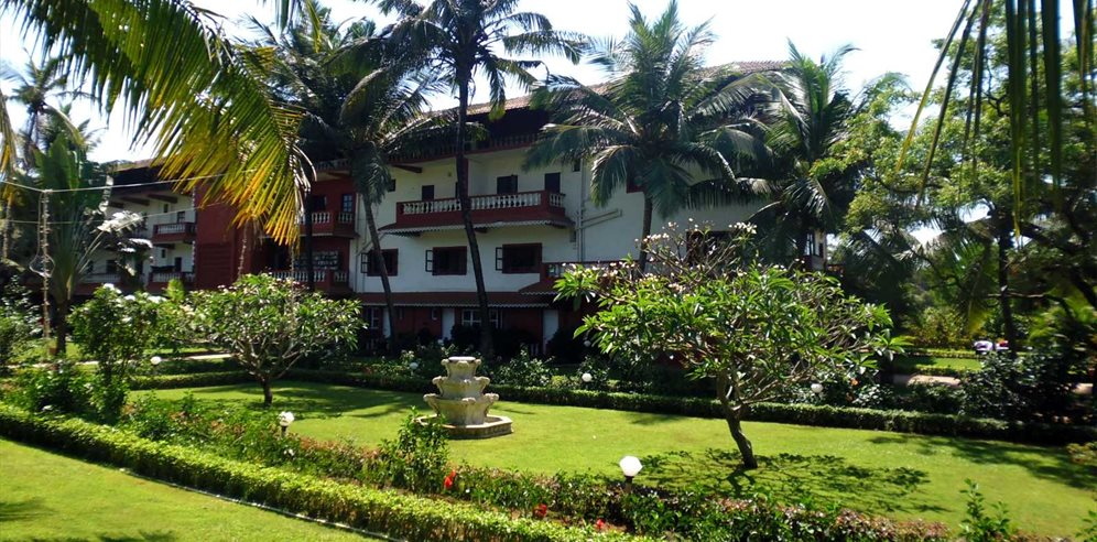 Manicured gardens at Chalston Beach Resort, Calangute, North Goa