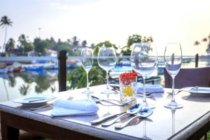 Fine dining at Acron Waterfront Resort, Baga River, North Goa