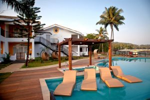 Inviting pool at Acron Waterfront Resort, Baga River, North Goa
