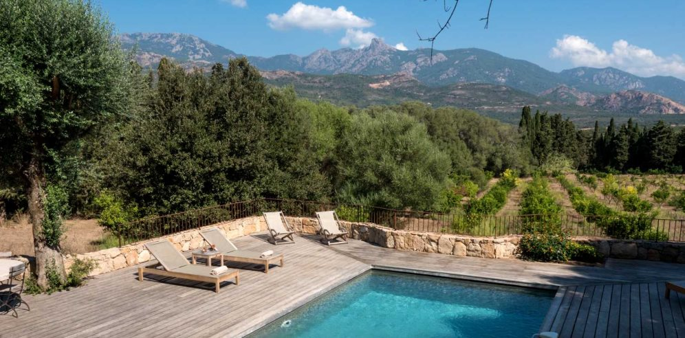 Pool area and views of the mountains