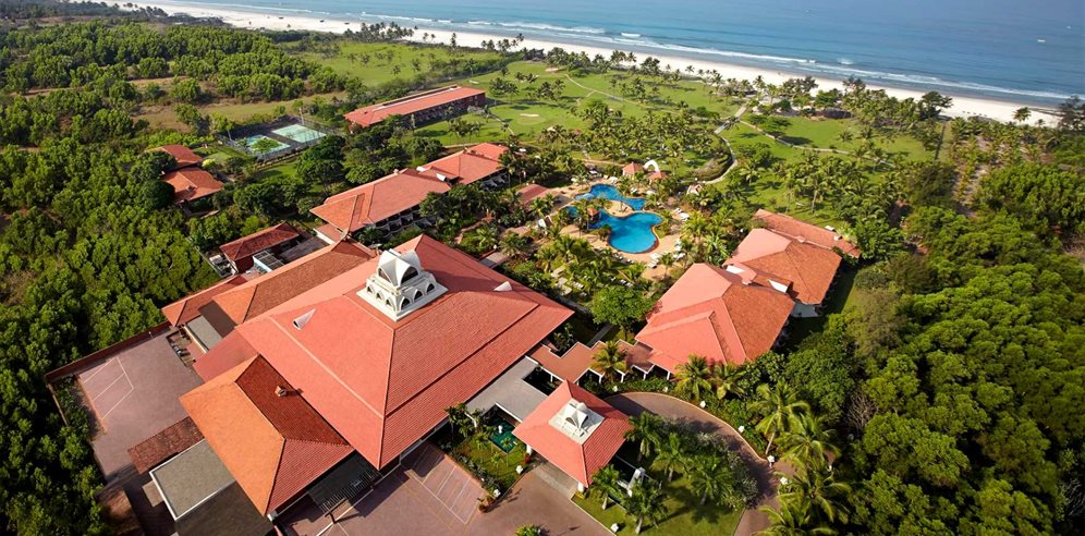 Aerial view of Caravela Beach Resort, Varca, South Goaamad