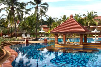 Inviting pool at Caravela Beach Resort, Varca, South Goa