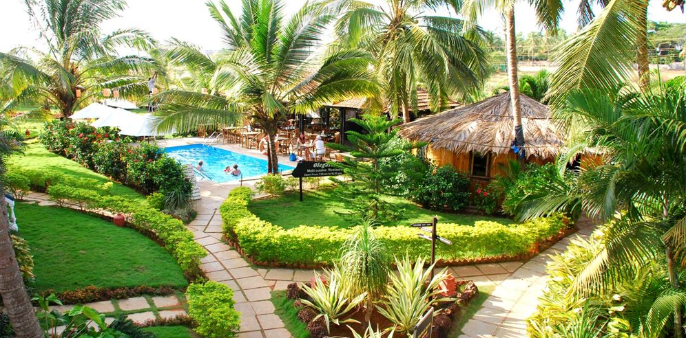 Lush grounds at Santana Beach Resort, Candolim, North Goa