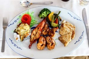 A plate of grilled seafood