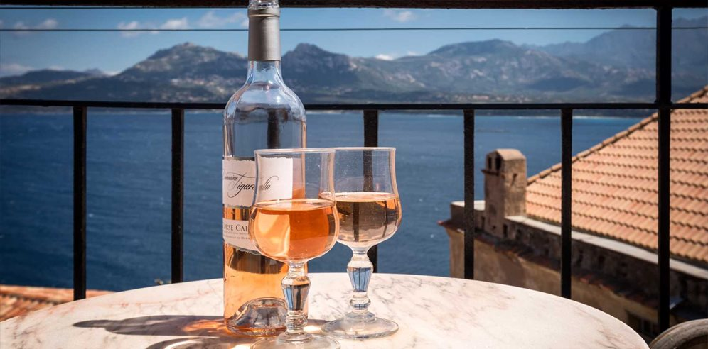 Enjoy the view over a glass of locally produced wine