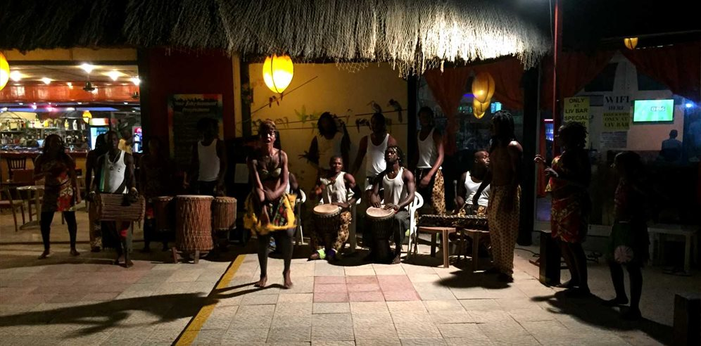 Drumming at Kombo Beach