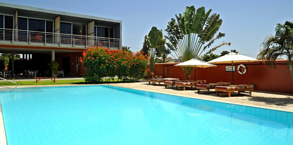 Tranquil pool at Leo's Beach Hotel, Brufut, The Gambia