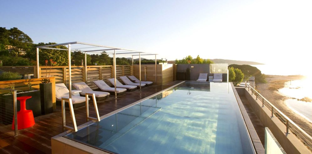 A shot of the roof terrace pool at Hotel le Pinarello