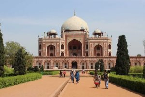 An exterior shot of Humayun's Tomb in New Delhi