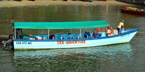 The boat used on the Castaway Cruise excursion in Goa
