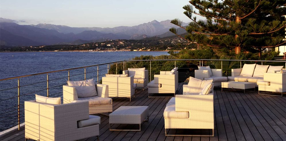 Terrace overlooking the bay of Ajaccio