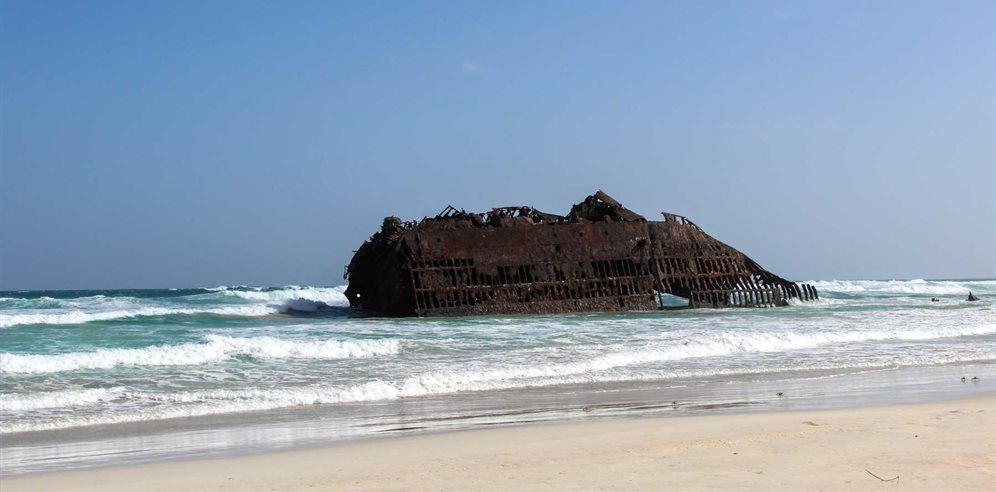 Shipwreck on a beach in Boa Vista, Cape Verde