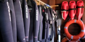 Wetsuits on Santa Maria on the island of Sal in Cape Verde