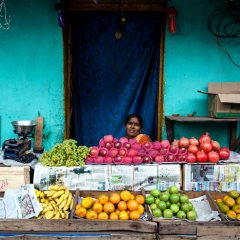 Fruit and vegetables on sale at a market in Goa