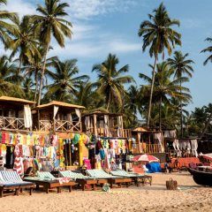 Beach shacks on Palolem Beach, South Goa