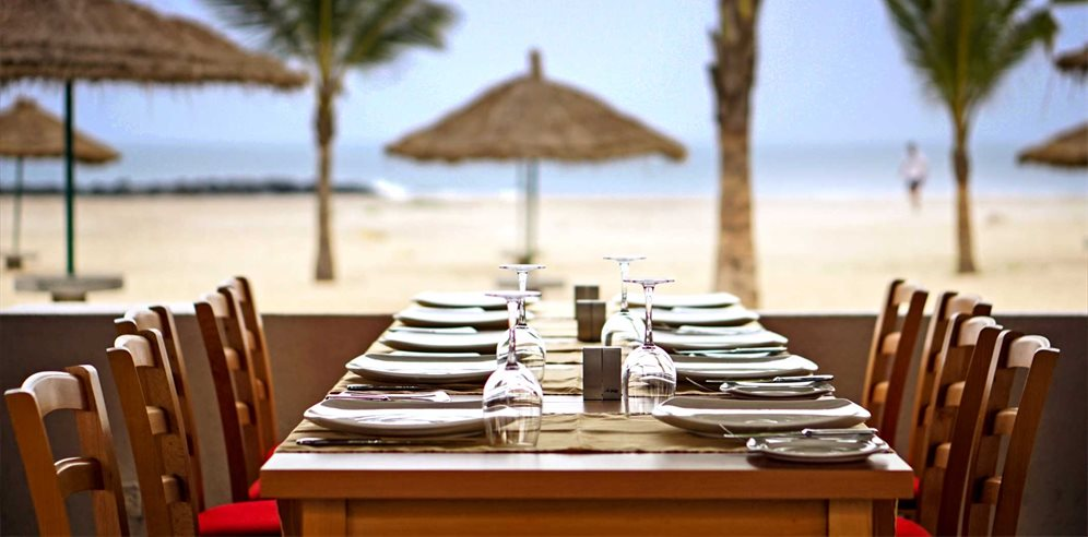 Dining al fresco at Sunbeach Hotel, Cape Point, The Gambia