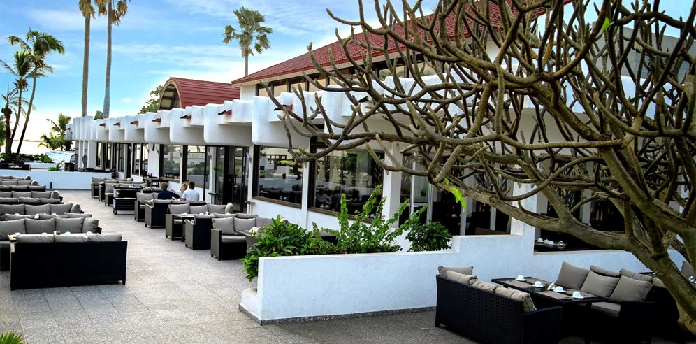 Exterior dining terrace at Sunbeach, Cape Point, The Gambia