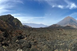 Pico do Fogo with lava from its last eruption in 2014