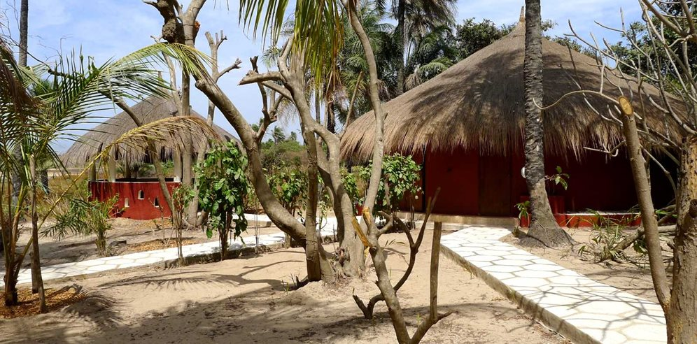 Traditional bungalows at Esperanto Lodge, Casamance in Senegal