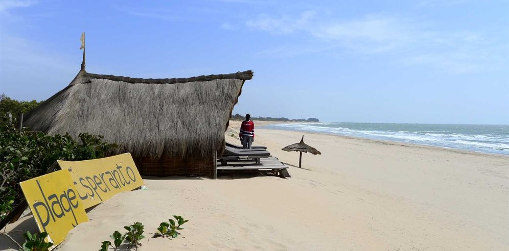 Unspoilt beach/beach bar at Esperanto Lodge, Casamance