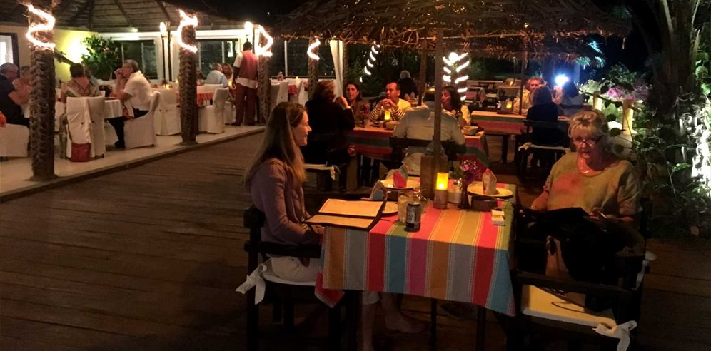 Al fresco dining at La Paillote Hotel in Senegal