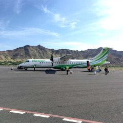 A Binter aircraft at an airport in Cape Verde