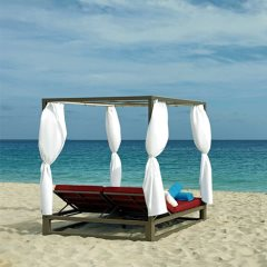 Enjoy a day on the Bali beds at The Bounty beach bar with gorgeous sea views